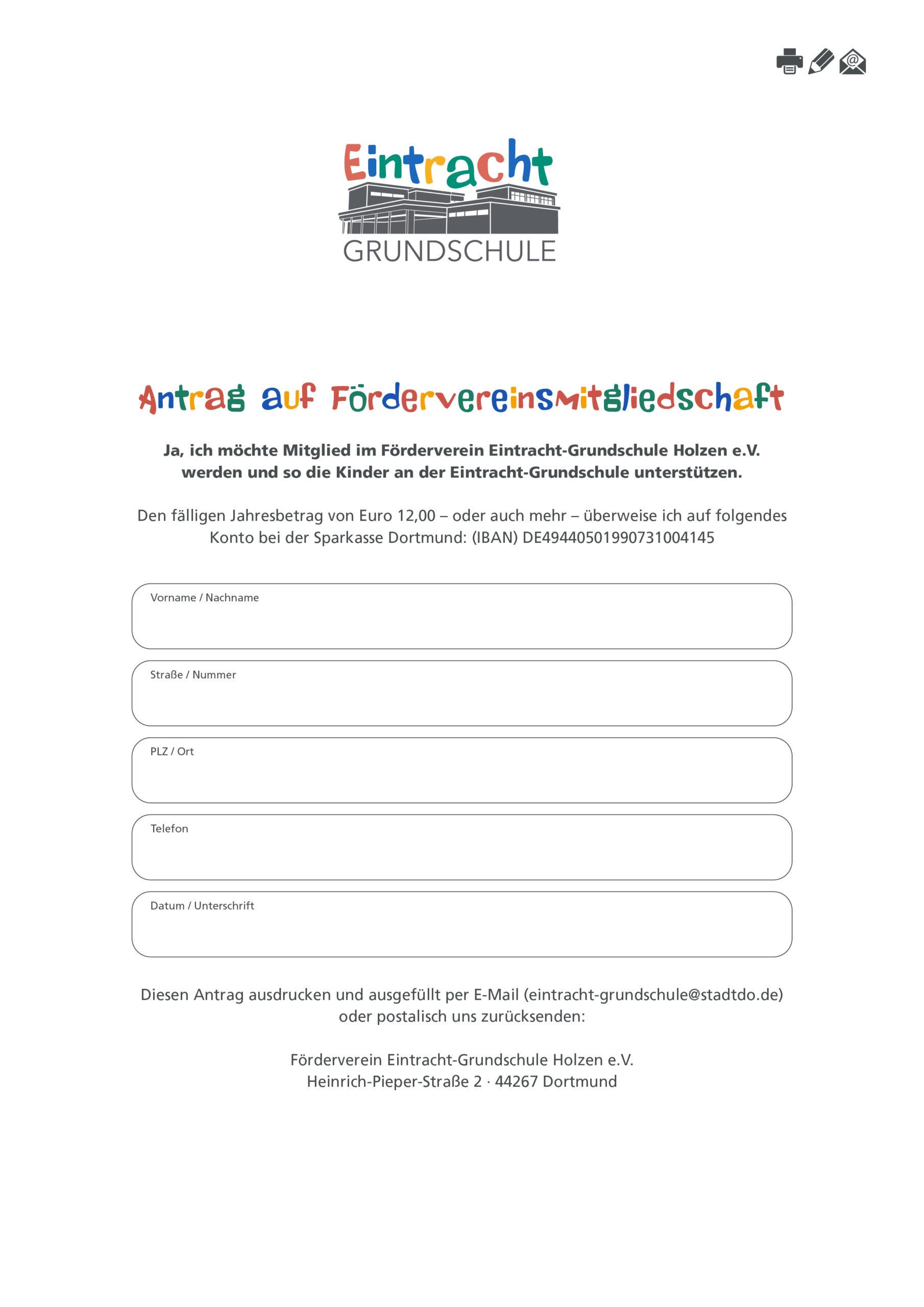 Antrag auf Mitgliedschaft im Förderverein Eintracht-Grundschule Holzen e.V.
